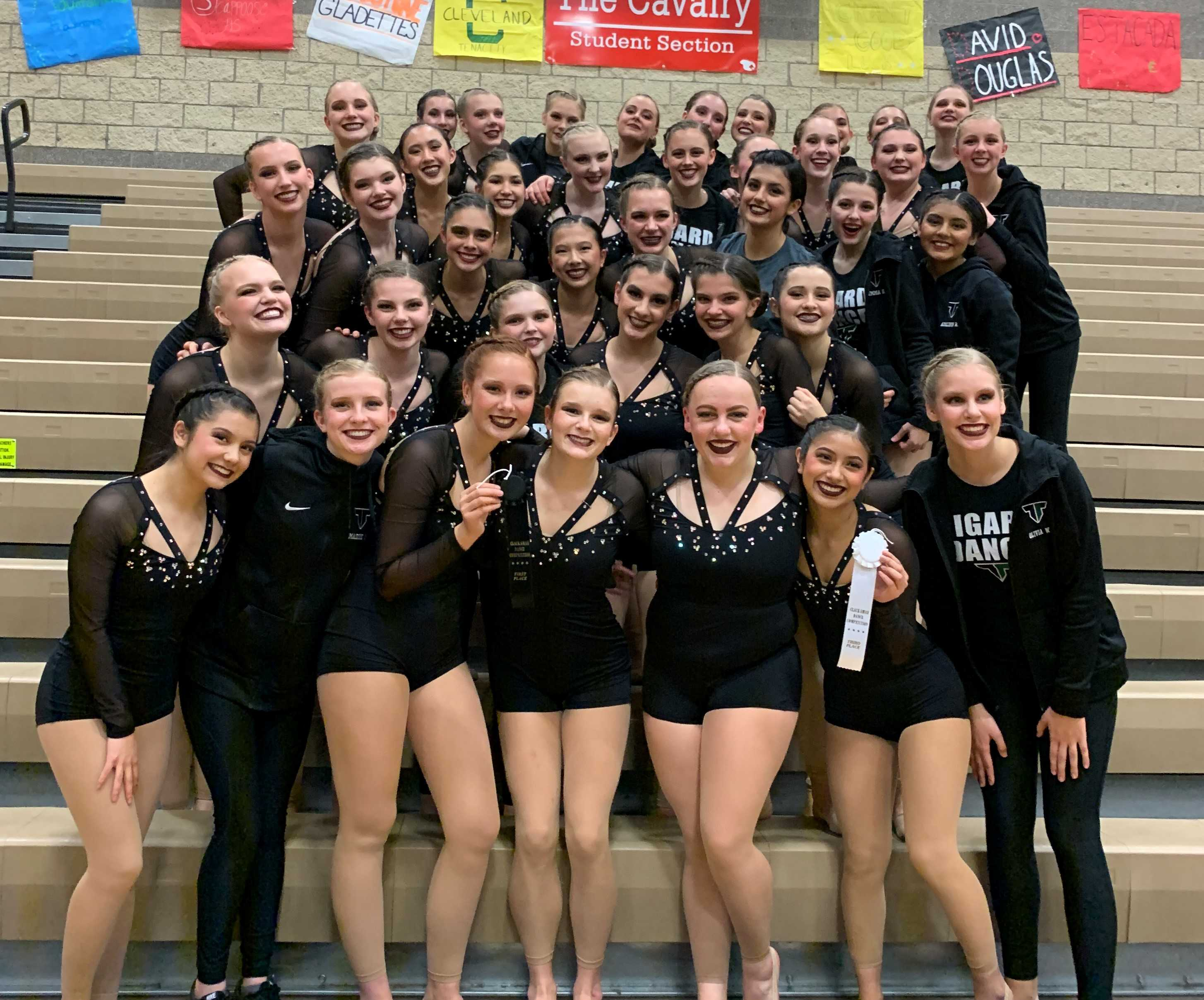 The Tigard Tigerettes had three first place finishes and overall high score at the Clackamas Competition.