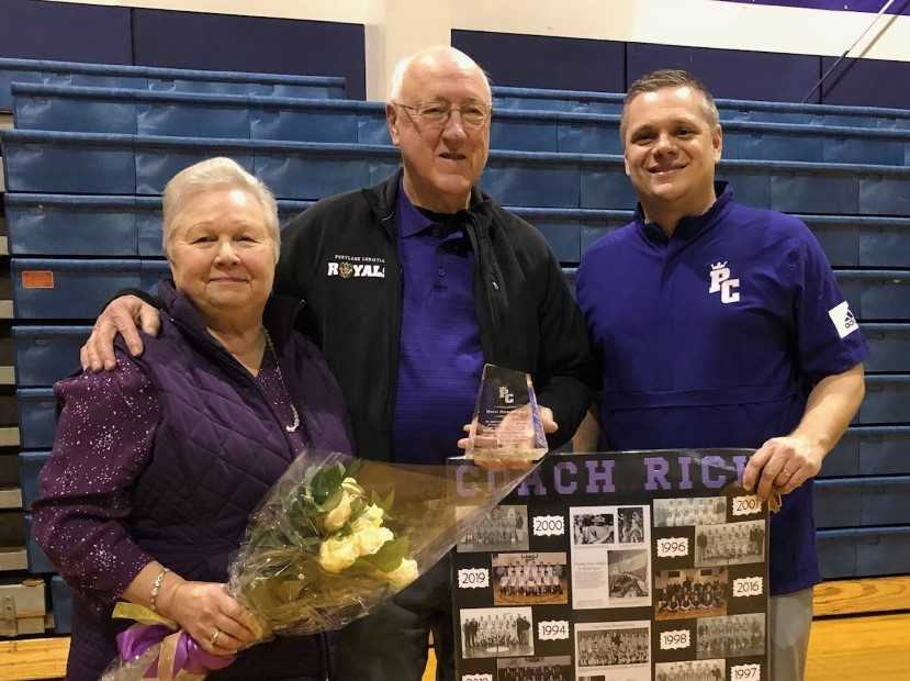 Rich Remsburg (center), with wife Sue and Kyle Cowan, won 537 games at Portland Christian.(Photo courtesy Portland Christian HS)