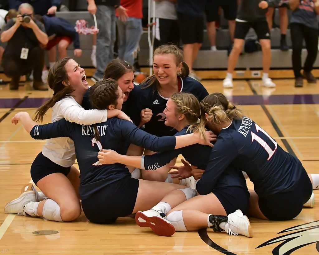 Kennedy won its first volleyball state championship last fall. (Photo by Andre Panse)