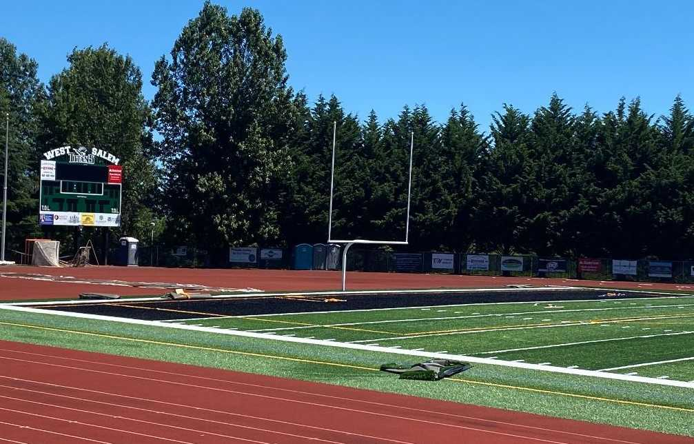 The black end zones in West Salem's new field are a nod to the old surface. (Photo courtesy West Salem HS)