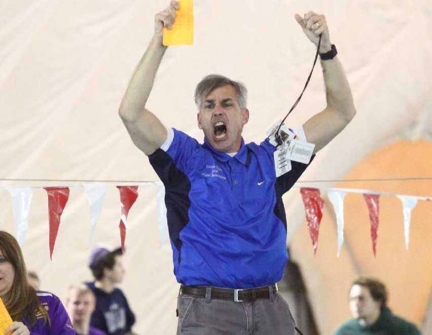 La Grande coach Darren Dutto celebrates during his boys team's 2016 state title performance. (Photo by Corrine Dutto)
