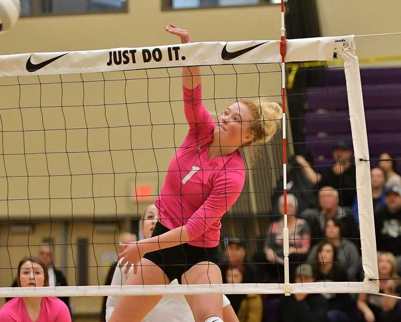 Powder Valley's Brooke Allen attacks at last year's 1A volleyball tournament. (Photo by Andre Panse)