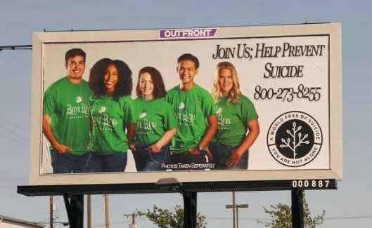 Carson Lydon (left) has teamed up to post eight billboards in the Eugene area that promote suicide prevention.