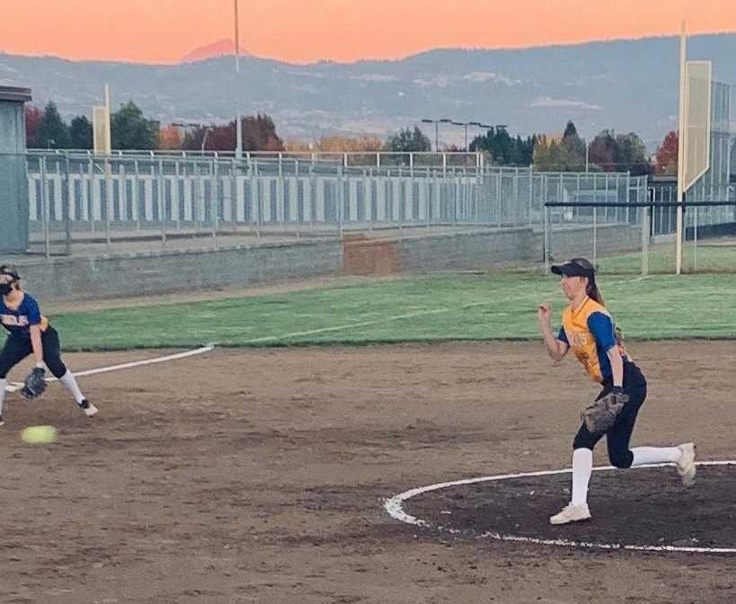 Eagle Point's Emilee Nielsen pitches against South Medford on Tuesday. (Photo courtesy Eagle Point HS)