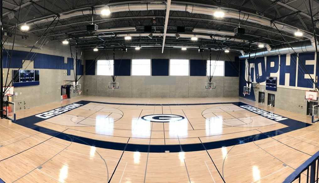 Gresham's new gym was built in the same spot as the old one, but oriented north-south. (Photo courtesy Gresham HS)