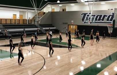 The Tigerettes, pictured at their first in-person practice, prepare for the upcoming season.