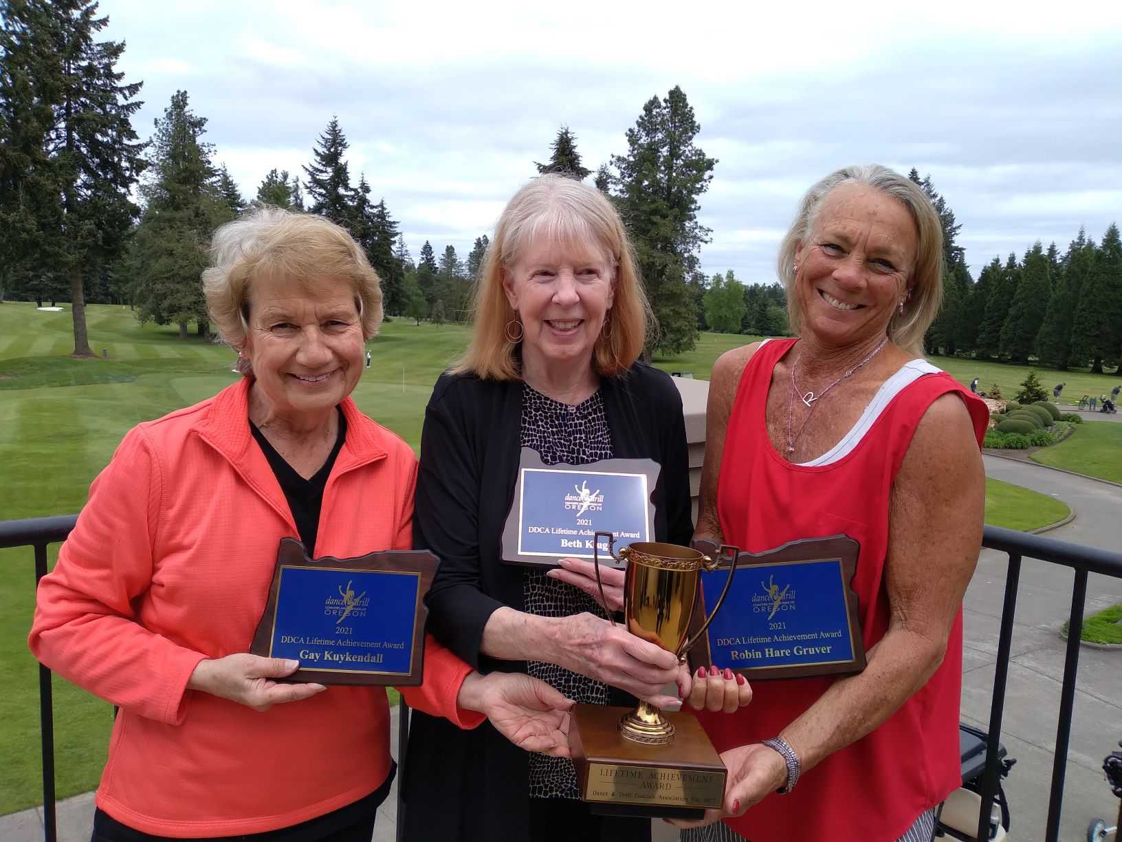 The DDCA recognized the contributions Robin Hare Gruver, Beth Klug and Gay Kuykendall made to Oregon high school dance.
