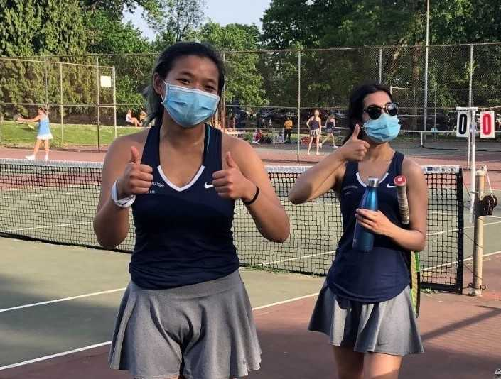 The St. Mary's Academy team of Vy Lam (left) and Olivia Kuchela (right) is 8-0. (Photo courtesy St. Mary's Academy)