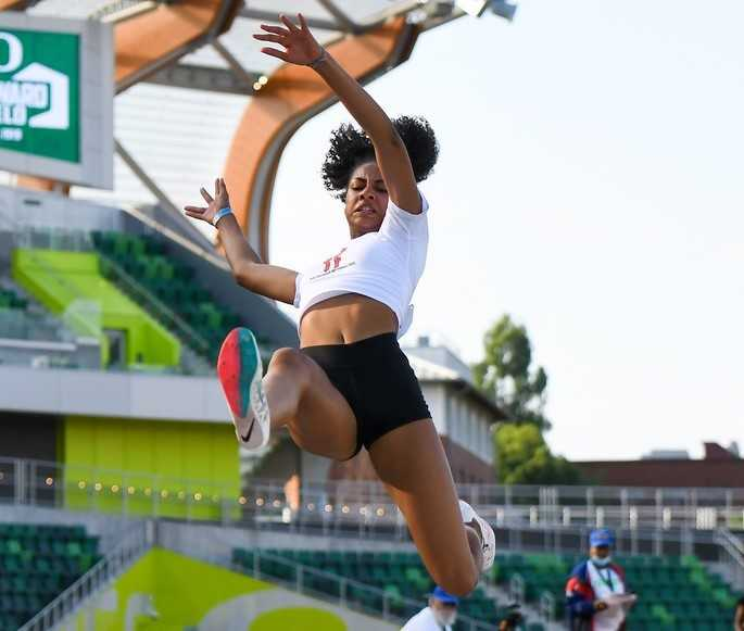 Sophia Beckmon long-jumped 19-10 1/4  on her last attempt at The Outdoor Nationals. (Photo by Becky Holbrook/DyeStat)