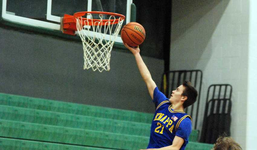 Timber Engblom converts a steal into easy points for Knappa, which held off Oakland to reach the 2A semifinals